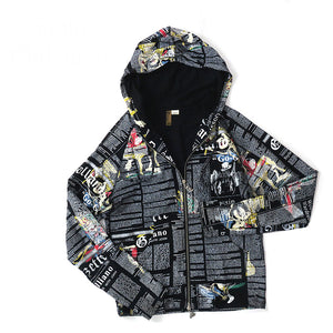 John Galliano Multi-Color Newspaper Article Zip-Up Hoodie