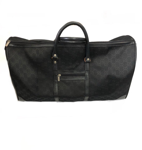GUCCI BLACK MONOGRAM TRAVEL DUFFLE BAG
