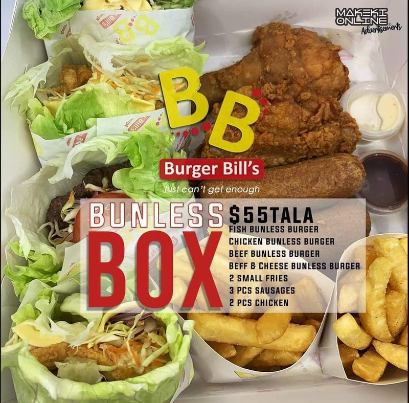 "Bunless Box ""PICKUP FROM BURGER BILLS VAITELE ONLY"" Burger Bills Restaurant Fugalei/Vaitele"