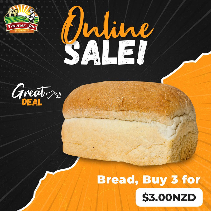 "Fresh Bread, Buy 3 for $3NZD ""PICKUP FROM FARMER JOE SUPERMARKET UPOLU ONLY"" Farmer Joe Supermarket"
