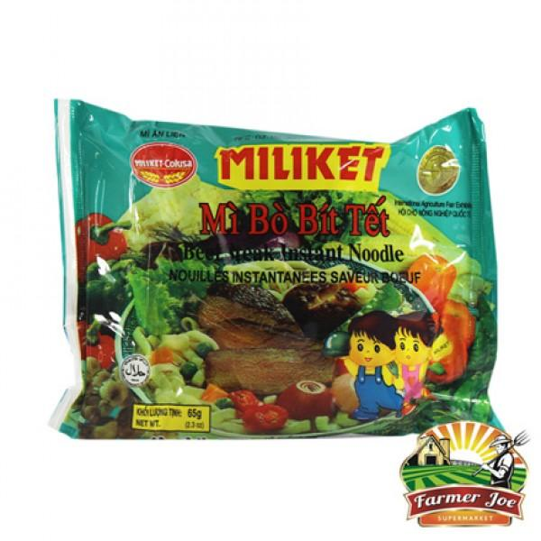 "Miliket Beef Noodles 65g 12PACK ""PICKUP FROM FARMER JOE SUPERMARKET UPOLU ONLY"" Farmer Joe Supermarket"
