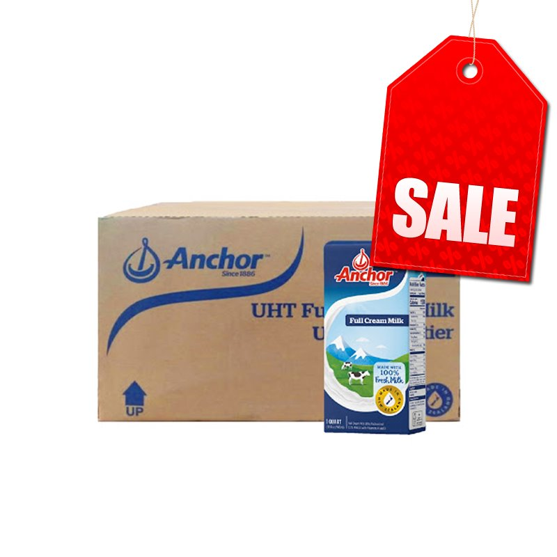"Anchor UHT Regular Milk 12x1ltr (FULL BOX) ""PICKUP FROM AH LIKI WHOLESALE"" Ah Liki Wholesale"