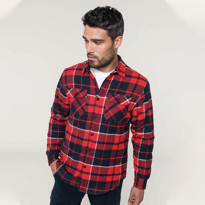 Sherpa-lined checked shirt jacket - Spontex Workwear