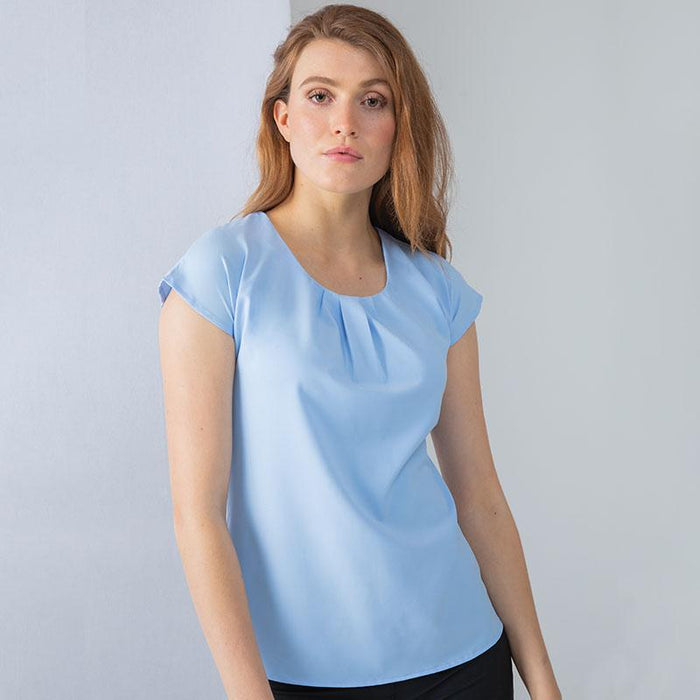 Women's pleat front short sleeve blouse - Spontex Workwear