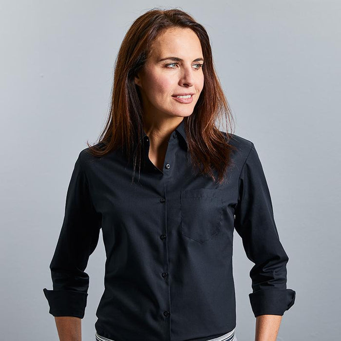 Women's long sleeve pure cotton easycare poplin shirt - Spontex Workwear