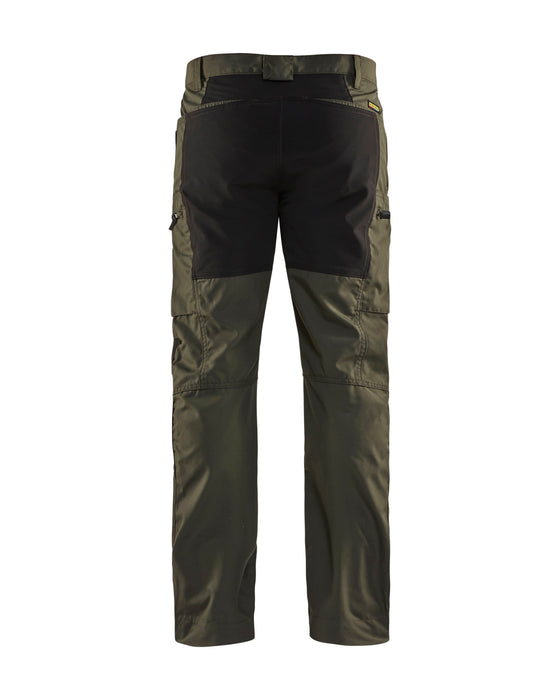 BLÅKLÄDER Service trousers with stretch panels Dark olive green /black