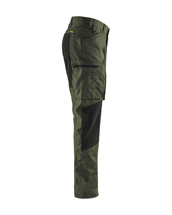 BLÅKLÄDER Service trousers with stretch panels Army green/Black