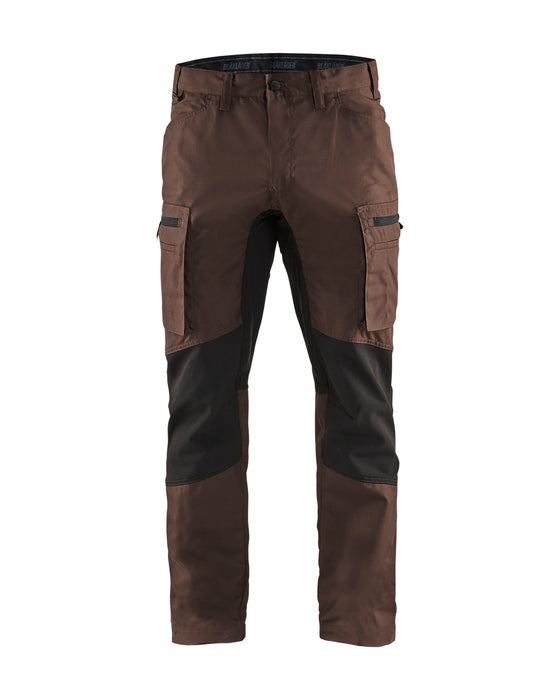 BLÅKLÄDER Service trousers with stretch panels Brown/Black