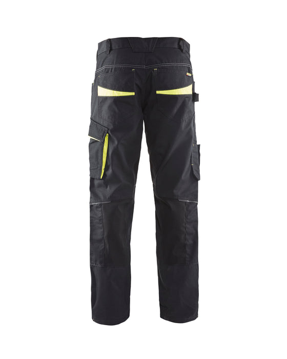 BLÅKLÄDER Trouser with knee pocket Unite Black/Yellow