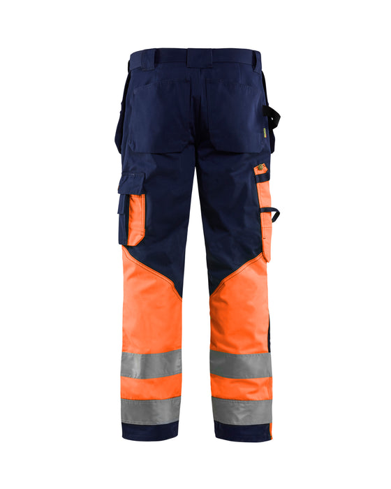 BLÅKLÄDER High visibility Trousers Navy blue/orange
