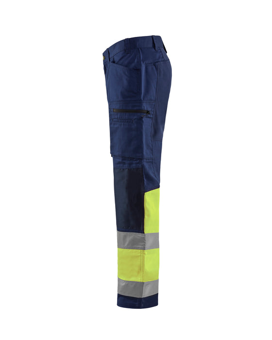 BLÅKLÄDER Hi vis stretch trouser klass 1 Navy blue/Yellow
