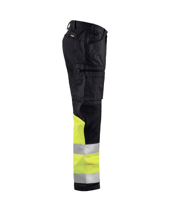 BLÅKLÄDER Hi vis stretch trouser klass 1 Black/Yellow