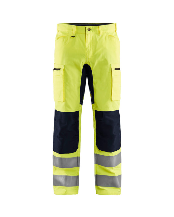 BLÅKLÄDER Hivis stretch trouser class 2 Yellow/Black