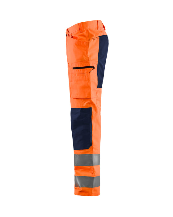 BLÅKLÄDER Hivis stretch trouser class 2 Orange/Navy blue