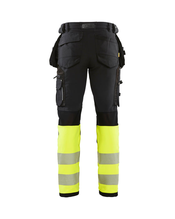 BLÅKLÄDER Hivis 4 way stretch trouser class 1 Black/Yellow