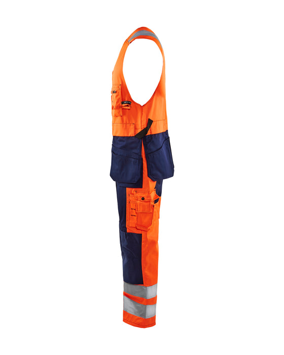 BLÅKLÄDER High vis sleeveless overall Orange/Navy blue