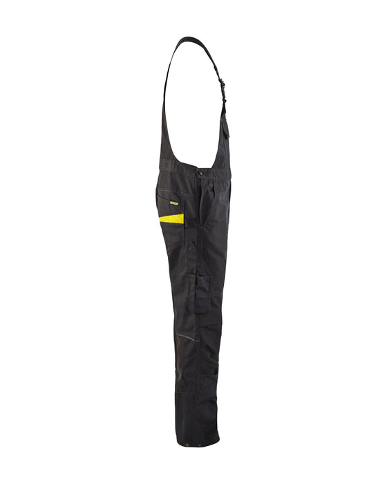 BLÅKLÄDER Bib trouser with knee pocket Service plus Black/Yellow