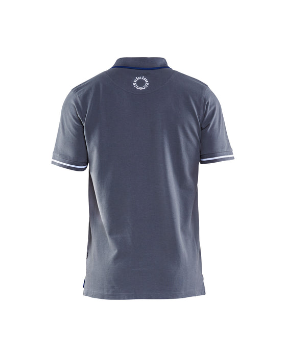 BLÅKLÄDER Branded Poloshirt  Grey/Cornflower blue