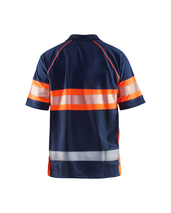 BLÅKLÄDER Hi-Vis Poloshirt class 1 Navy blue/orange