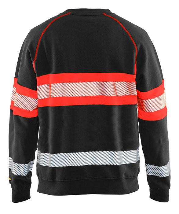 BLÅKLÄDER Highvisibility sweatshirt class 1 Black/Red