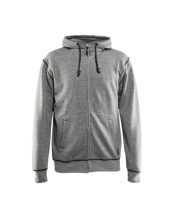 BLÅKLÄDER Hoodie with full zipper Grey melange