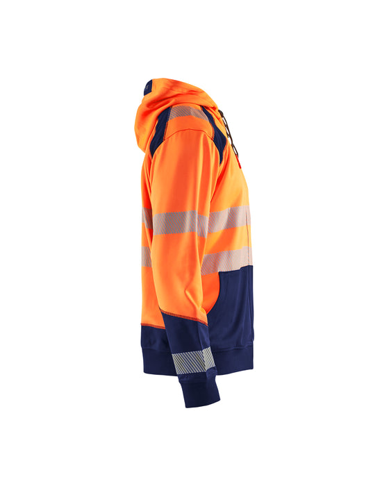 BLÅKLÄDER Hivis two col sweatshirt, hood and zip Orange/Navy blue