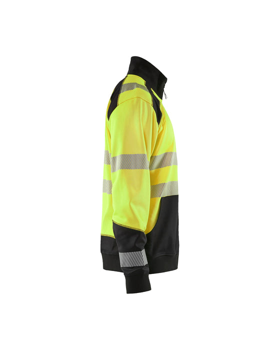 BLÅKLÄDER Hivis two col sweatshirt, half zip Yellow/Black