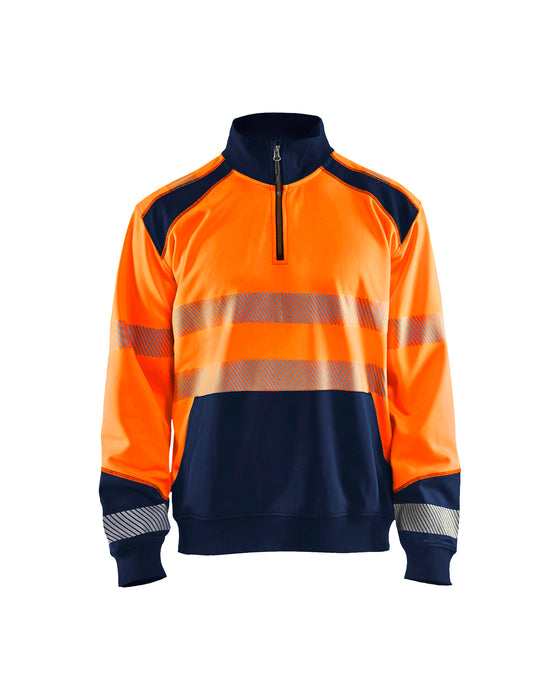 BLÅKLÄDER Hivis two col sweatshirt, half zip Orange/Navy blue