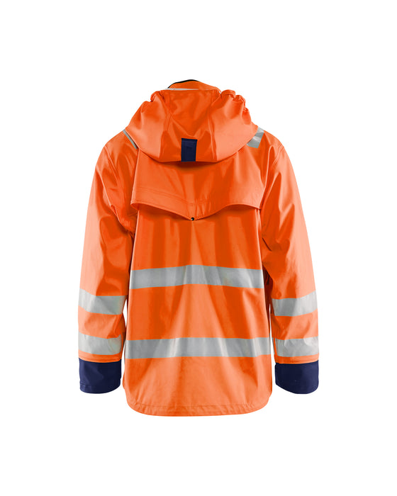 BLÅKLÄDER Hi-vis Rain jacket, heavy weight LEVEL 2 Orange/Navy blue