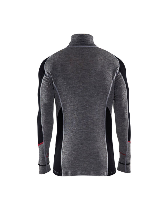 BLÅKLÄDER XWARM 100% MERINO Zip-neck  Mid grey/Black