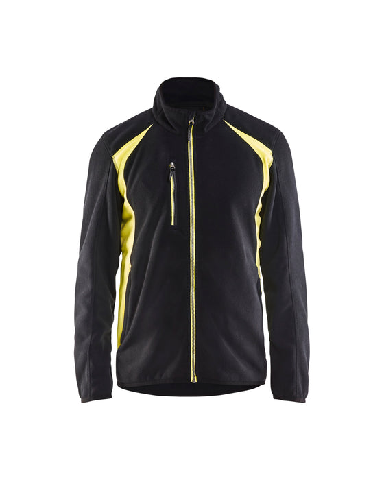 BLÅKLÄDER Fleece jacket Black/Yellow