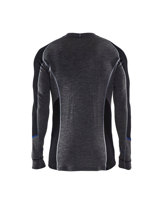 BLÅKLÄDER WARM 100% MERINO Crew neck Mid grey/Black