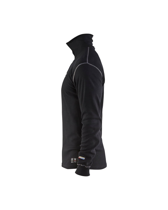 BLÅKLÄDER Multinorm basic zip neck Black