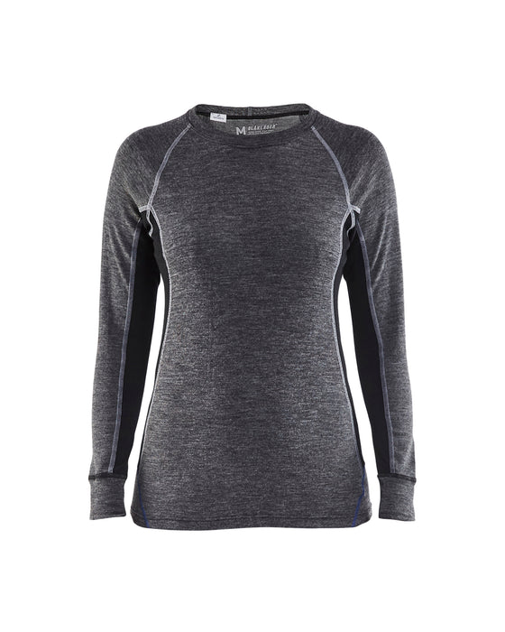 BLÅKLÄDER WARM 100% MERINO Crew neck Women Mid grey/Black