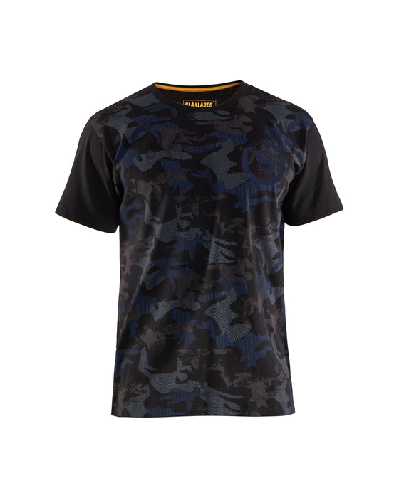BLÅKLÄDER  T-shirt camo print Black/Dark grey