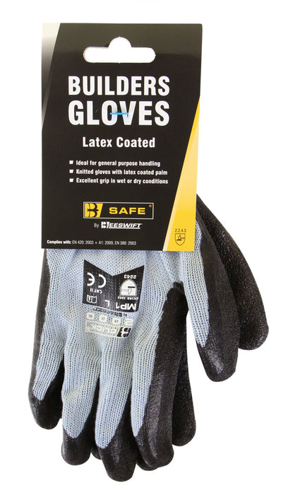 BUILDERS LATEX GLOVE BLACK LGE