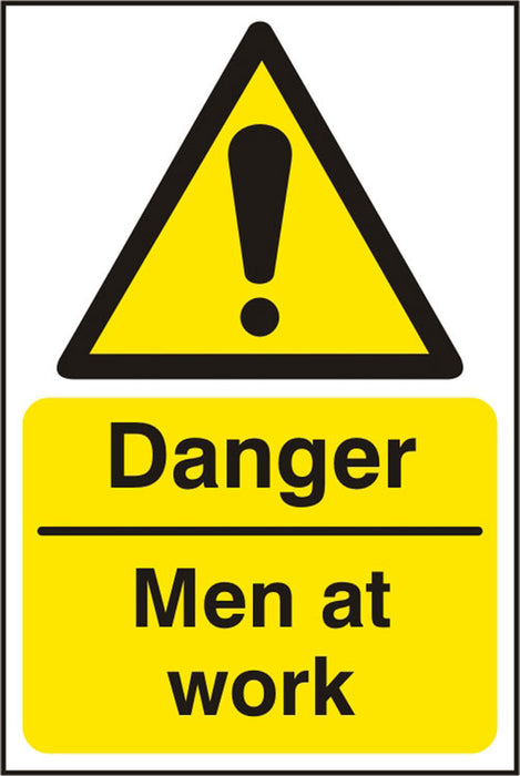 Danger Men At Work Rpvc (Pk5) 200Mm X 300Mm 1 Pack
