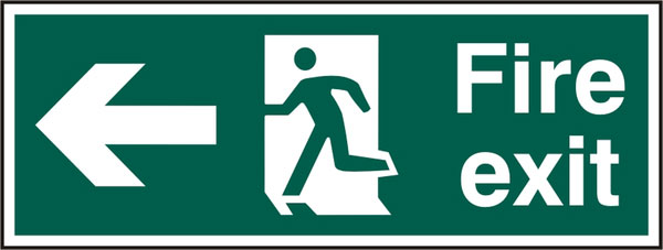 FIRE EXIT MAN ARROW LEFT RPVC (PK5) 400MM X 150MM 1 Pack