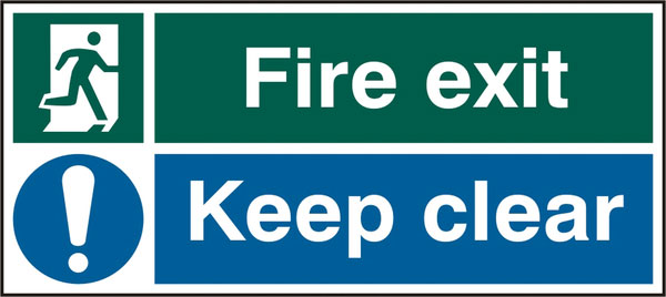 FIRE EXIT KEEP CLEAR RPVC(PK5) 450MM X 200MM 1 Pack