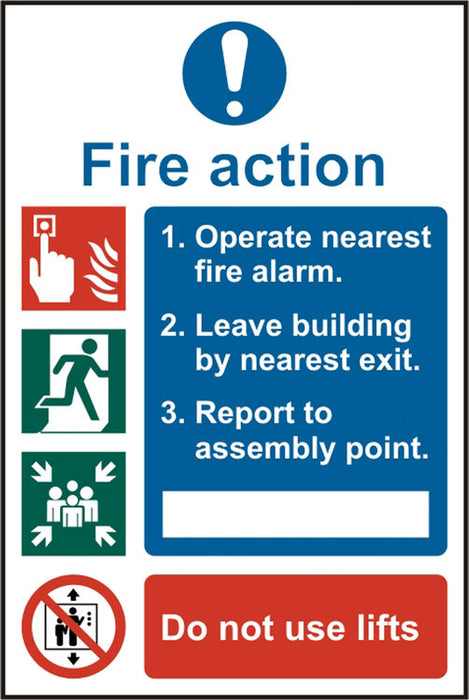 Fire Action Procedure Sav(Pk5) 200Mm X 300Mm 1 Pack