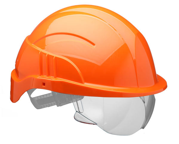 Vision Plus Safety Helmet Orange C/W Integrated Visor 1 Pack
