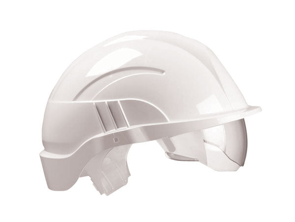 Vision Plus Safety Helmet White C/W Integrated Visor 1 Pack