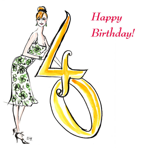 Caption reads '40 Happy Birthday!'  Lizzie has drawn an attractive blonde woman in a green floral dress leaning on a giant golden number 40.