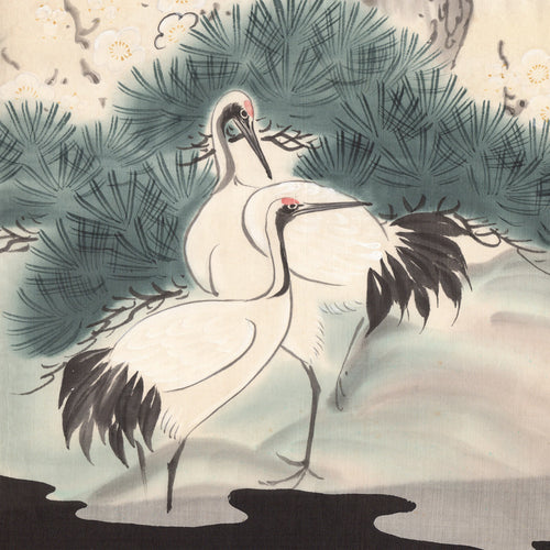 Soft greens; two cranes greeting card; symbolise longevity, luck and fidelity;   Lovely vintage Japanese fabric designs; any occasion;  friend; thinking of you; sister; niece; aunt; wife; grandma; friend