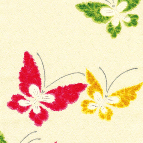 Top seller; Beautiful colourful red, green and yellow butterflies greeting card; design led;  Lovely vintage Japanese fabric design; any occasion; friend; thinking of you; sister; niece; aunt; wife; grandma; friend