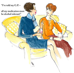 Sitting on the sofa, the neat smartly dressed brunette is telling her redhead friend what she tells her Doctor about medication!