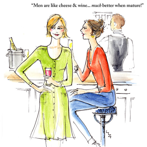 Lizzie's drawing shows two women at a bar they have a drink each and are discussing men... they agree that like cheese and fine wine men are better when mature!