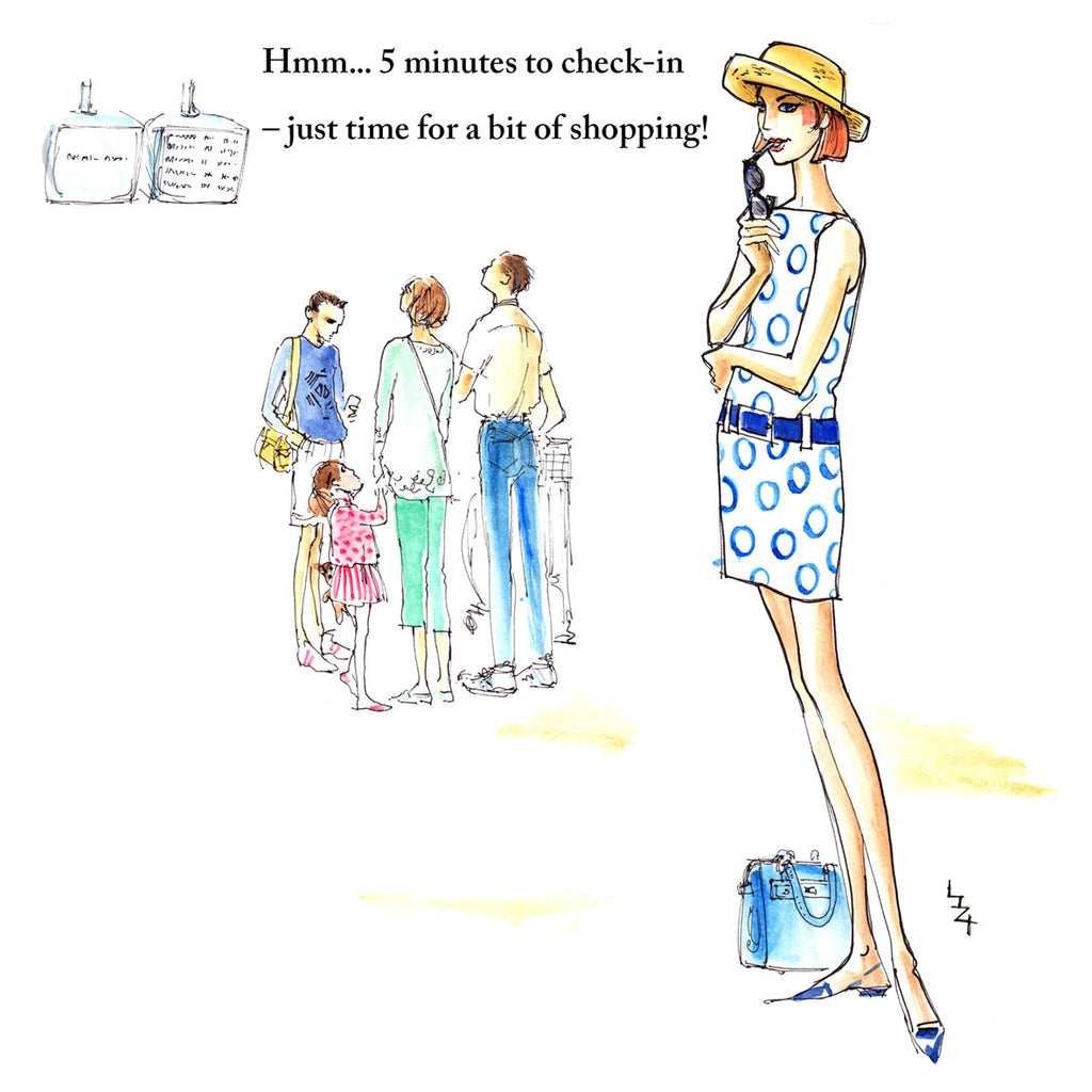 A fashionable woman is standing at the airport check-in and decides that five minutes is enough time for some shopping...