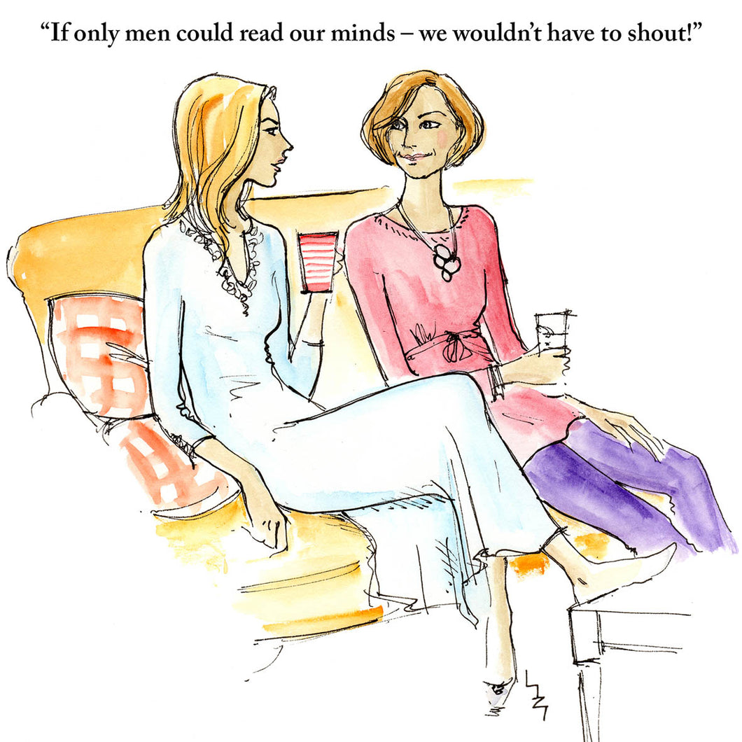 Two women relaxing on a sofa, discussing men and how they can't fathom them