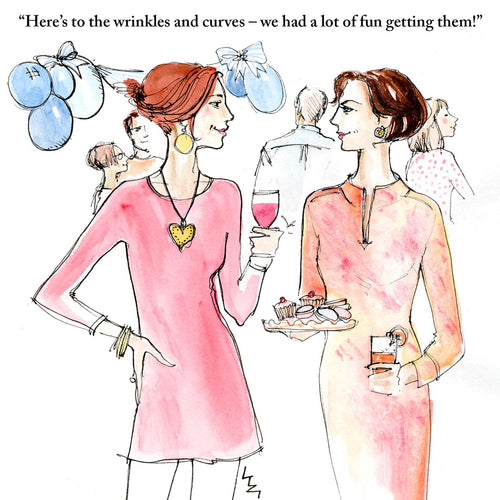 Two women at a party raising a glass to all the fun they've had reaching maturity